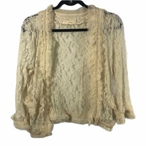 A'Reve Lace Cardigan Sheer Size Small
